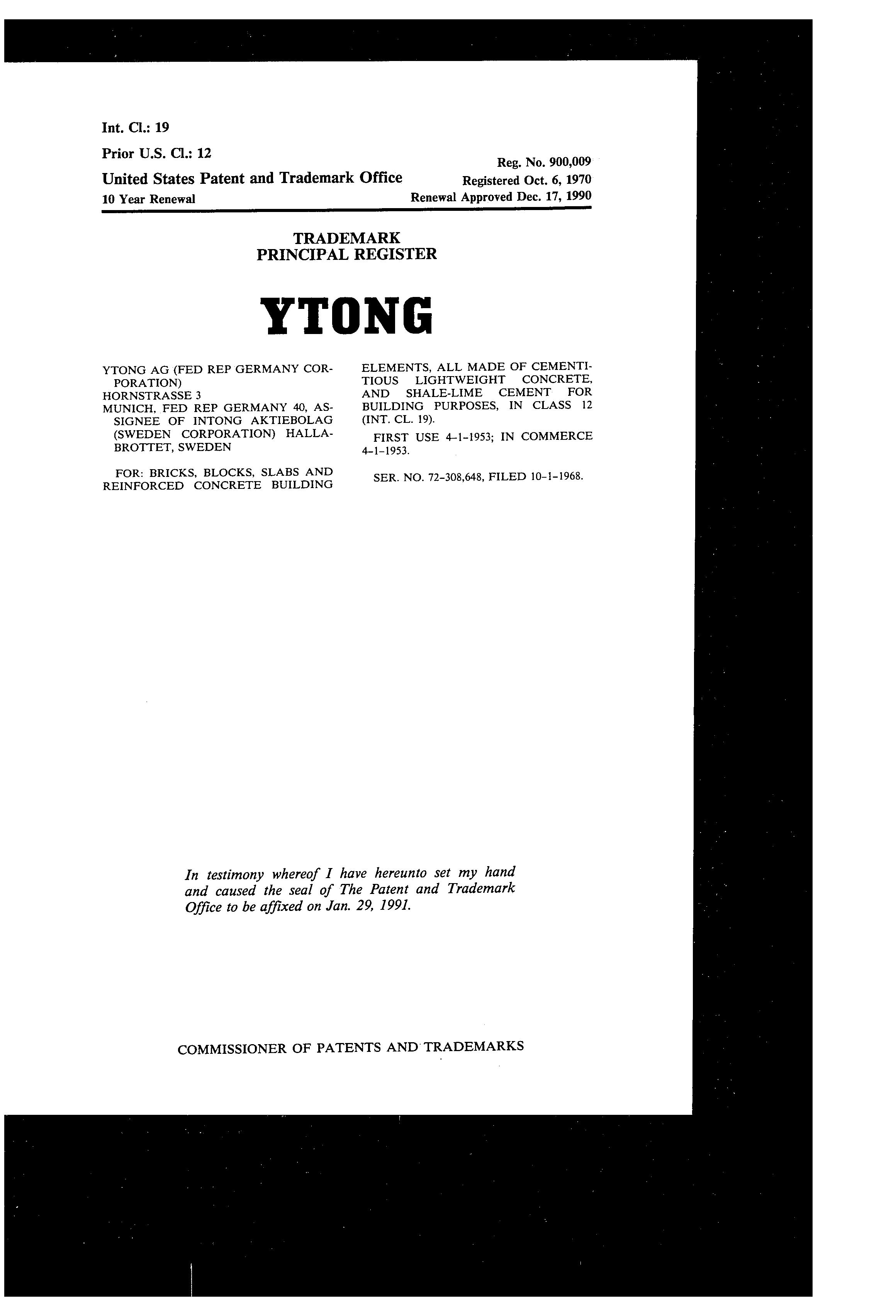 YTONG Details, a Report by Trademark Bank | Calendar Your