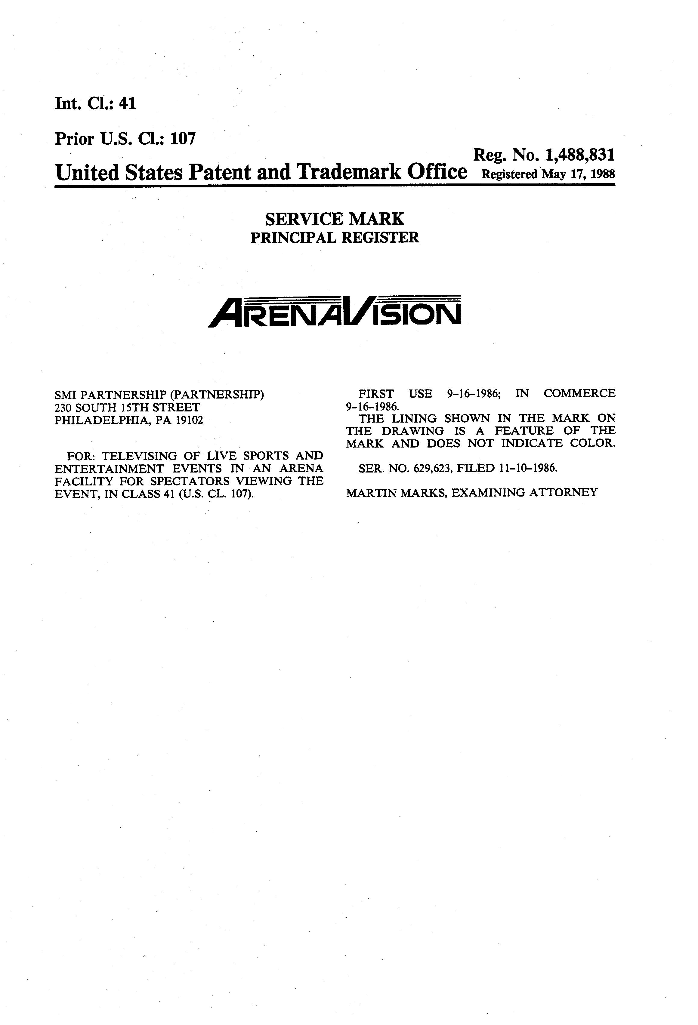 ARENAVISION Details, a Report by Trademark Bank | Calendar