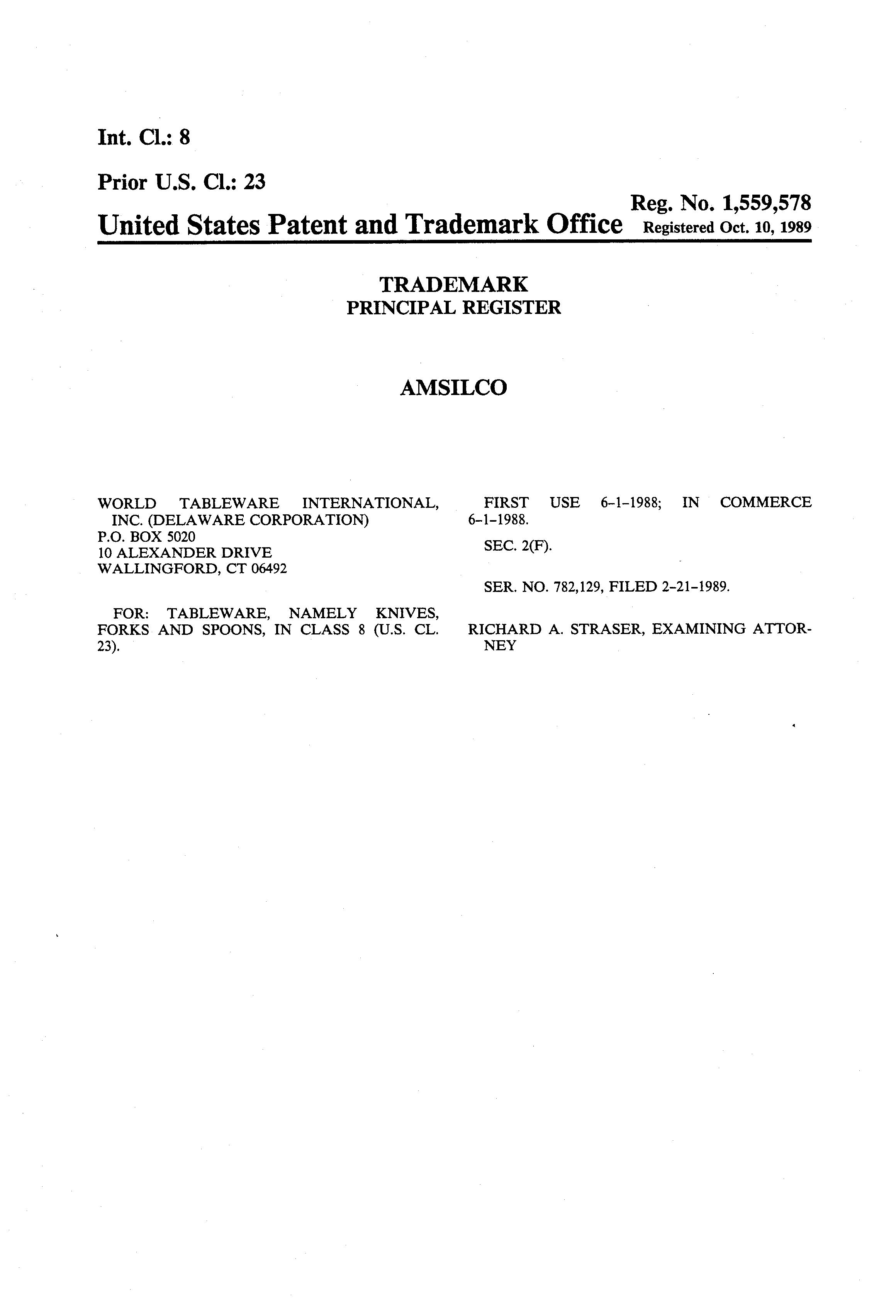 This mark was filed by WORLD TABLEWARE INTERNATIONAL INC. on 02/21/1989 for goods and services in class 008 Hand Tools.  sc 1 st  Trademark Bank : world tableware international - pezcame.com