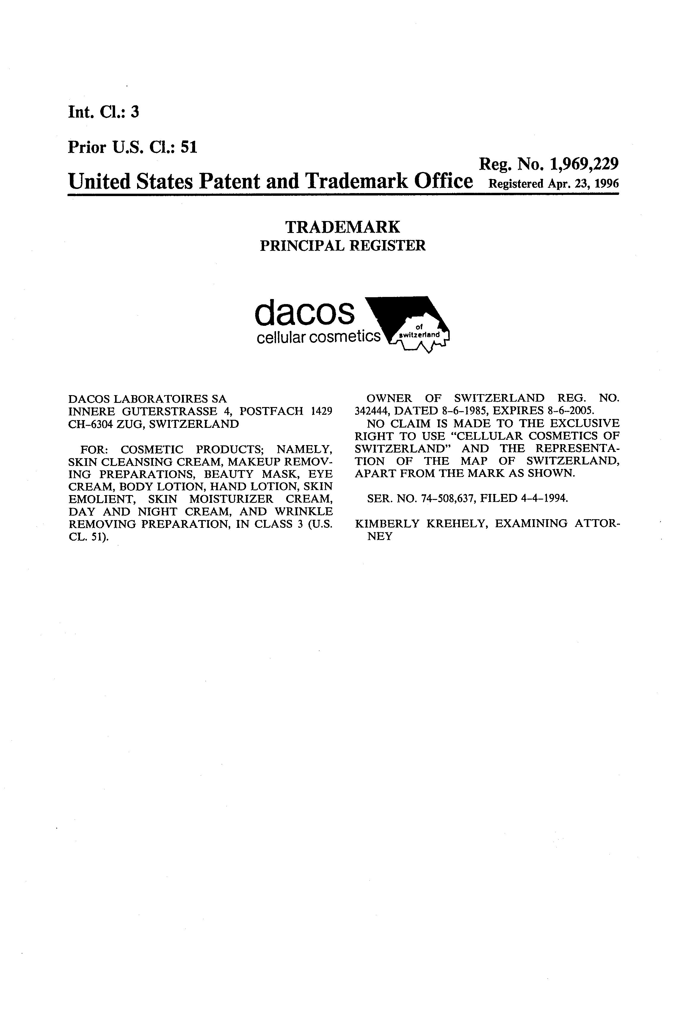 DACOS CELLULAR COSMETICS OF SWITZERLAND Details, a Report by