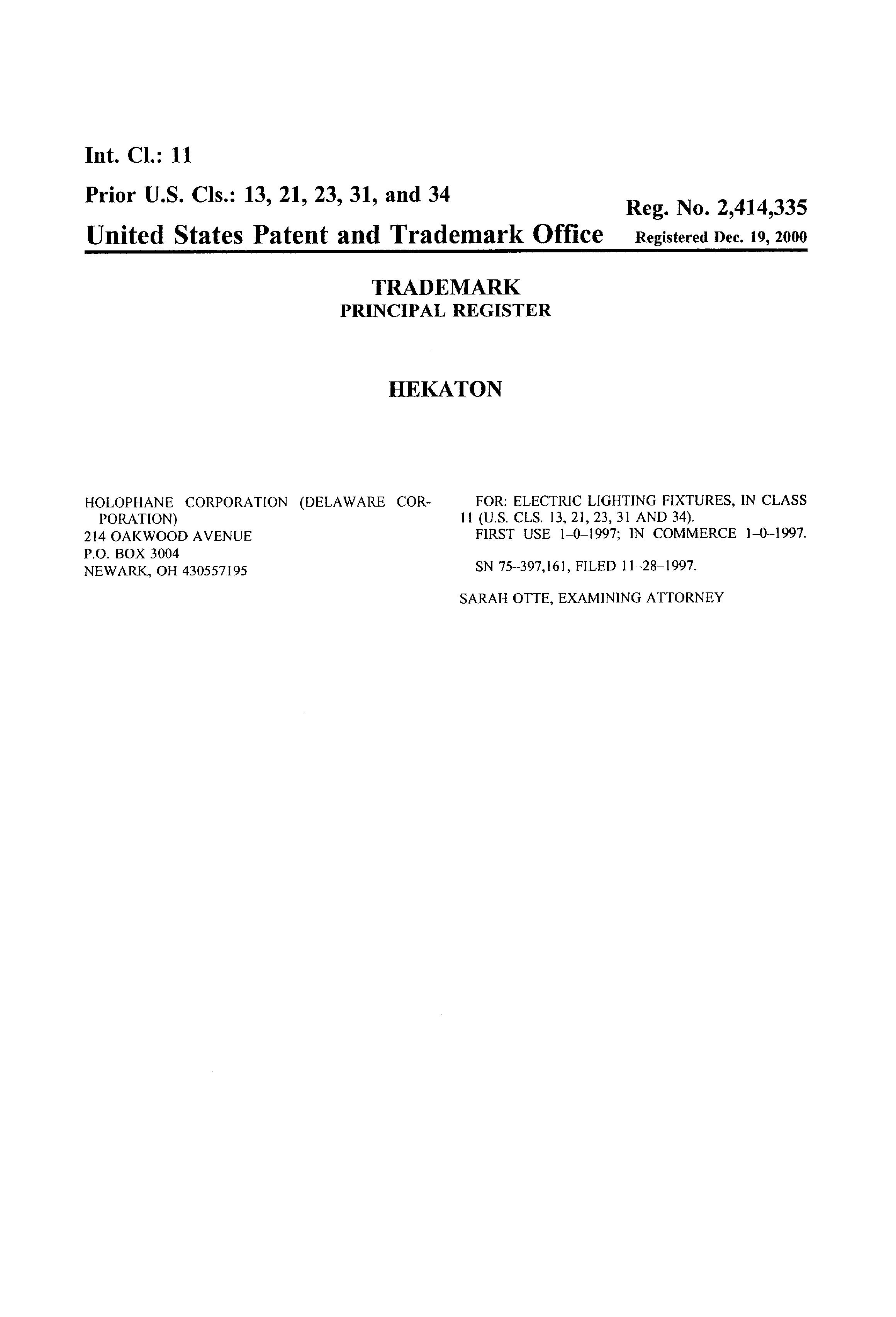 HEKATON Details, a Report by Trademark Bank   Calendar Your